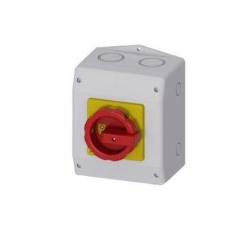 MASTER/EMER. STOP SWITCH 3-ПОЛЮСА IU=63 P/AC-23A W. 400V=22KW SWITCH IN ISO HOUSING RED. MECHANISM RED-YELLOW PE TERMINAL MO SIEMENS Германия